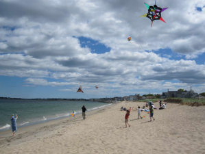 Flying Kites at Ferry Beach